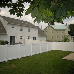 classic white pvc backyard fence