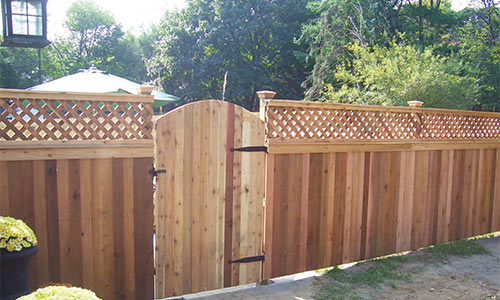 Red Cedar Wooden Fence and Gate Installed Professionally