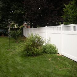 traditional style white vinyl privacy fence