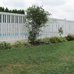vertical slat style vinyl pool fence