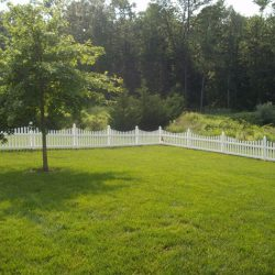 White Concave Picket Fence