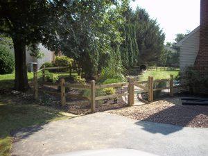 2 rail post wooden backyard fence