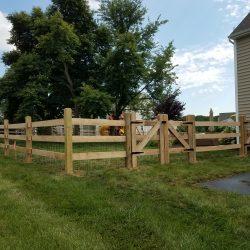 3 rail slip board backyard wooden fence