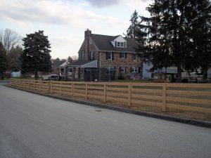 4 rail post backyard wood fence
