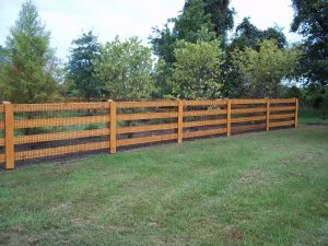 4 rail wood fence with custom stain