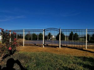 aluminum fence and gate with custom fence posts