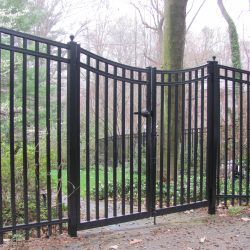 black industrial aluminum fence and gate