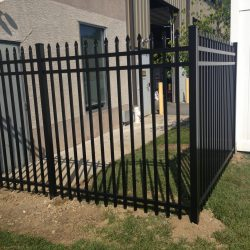 black industrial aluminum fence panels
