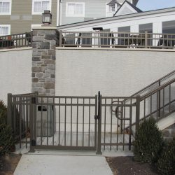 bronze colored aluminum fence panel and gate inspiration