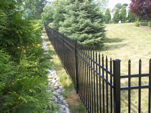 elegant black aluminum fence idea