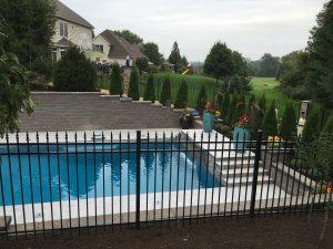 black aluminum pool fence