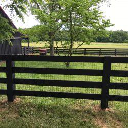 black split rail wood fence