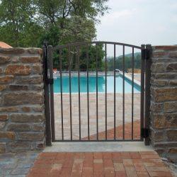 textured bronze aluminum pool fence