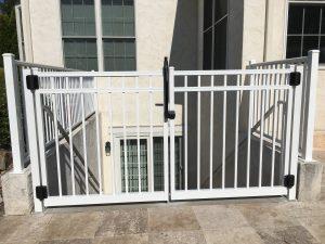 white aluminum fence panels