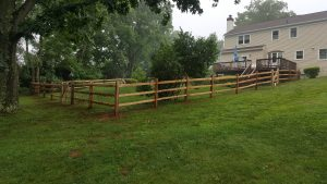 wooden rail fence and gate