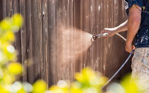 Cleaning wooden fence for spring