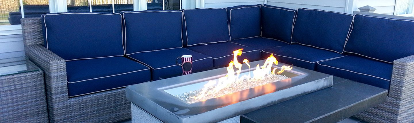Outdoor Electric Fire Pit on Deck