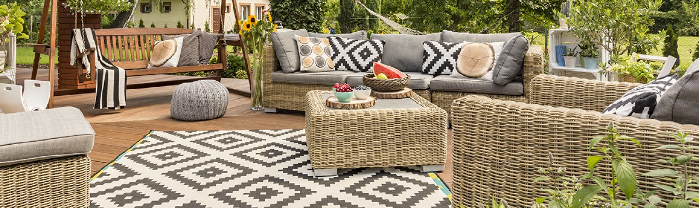 Backyard Deck with Outdoor Area Rug