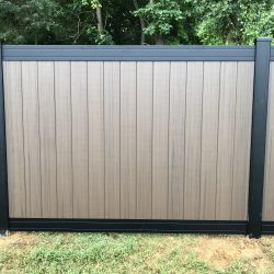 black and wood style vinyl fencing