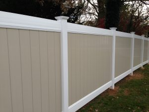 premium white and tan pool fencing company