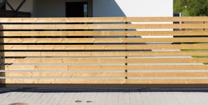 Wooden horizontal slat fence
