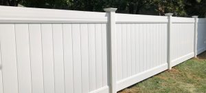 Total privacy white vinyl fence