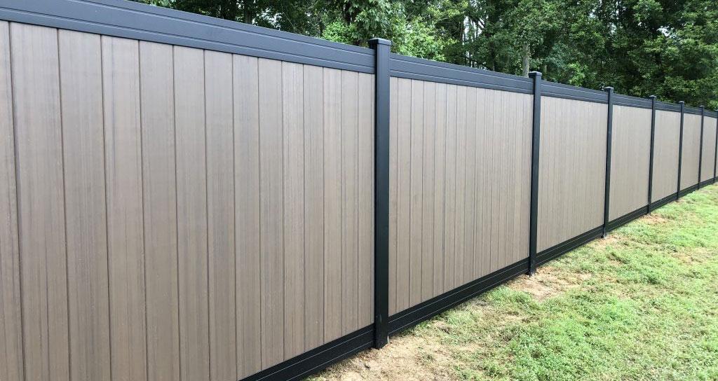 Textured vinyl fence for backyard