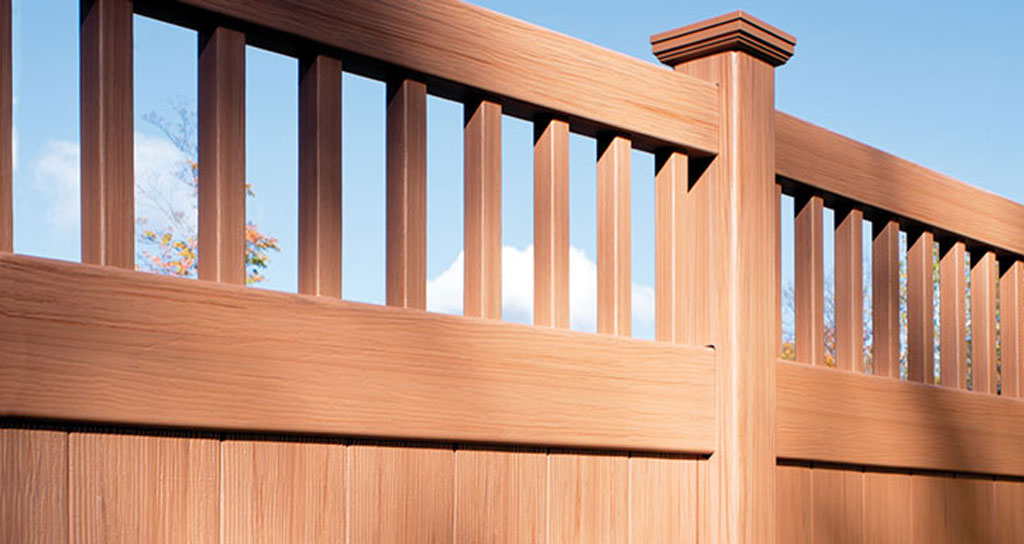 Wood texture vinyl fence for privacy in backyard