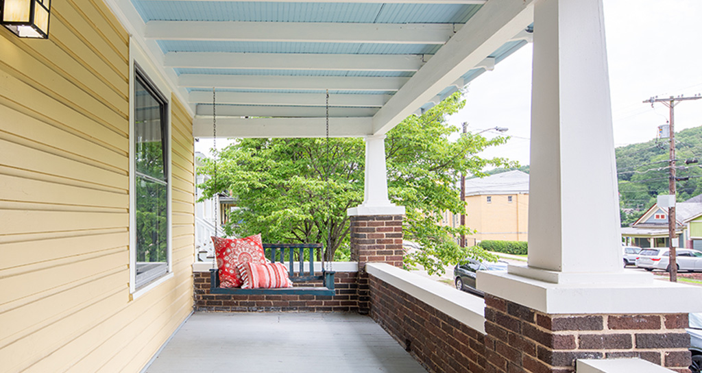 Colorful front porch makeover
