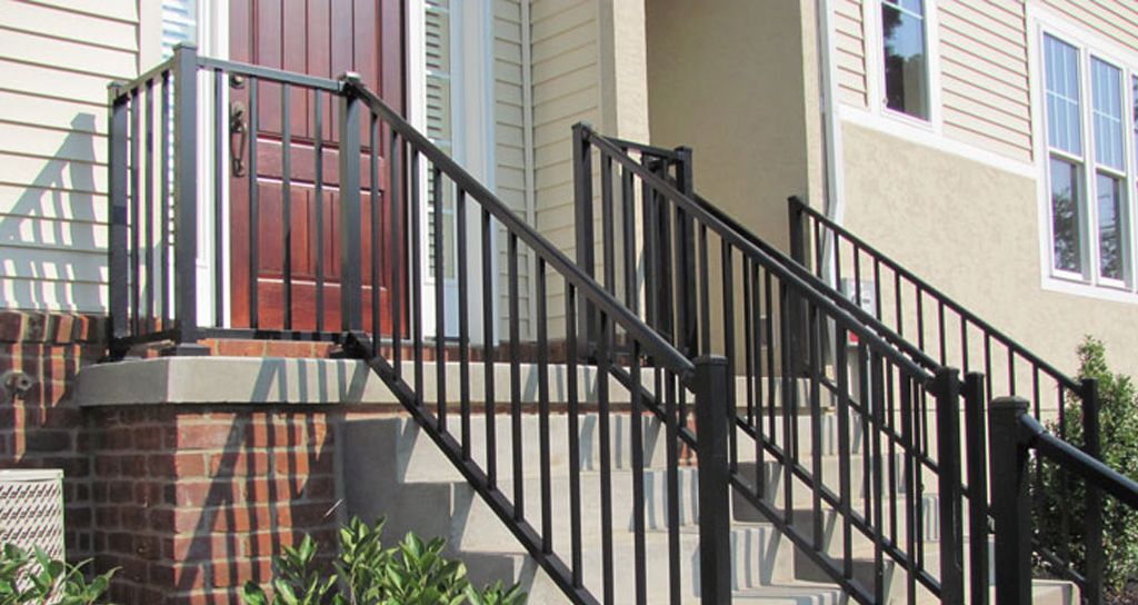 Black aluminum porch railing on condo