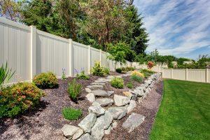 Backyard privacy fence made of vinyl