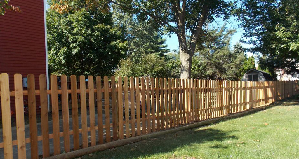Wooden picket budget fence
