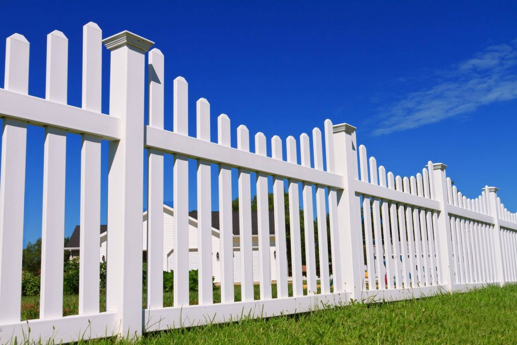 White picket fenced yard