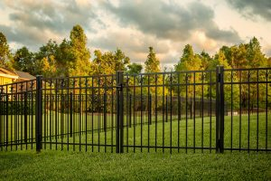 Aluminum fence material with sky