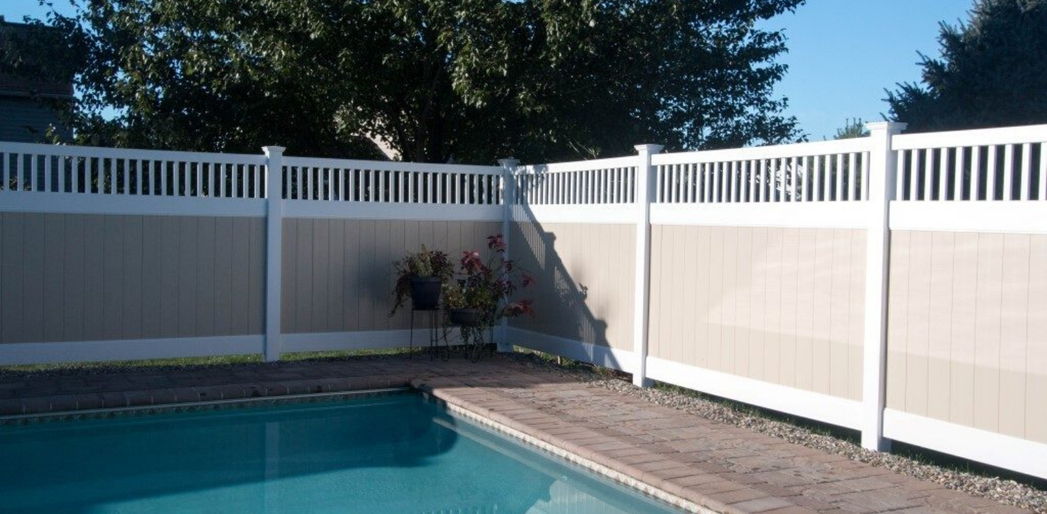 Tan PVC fence around pool