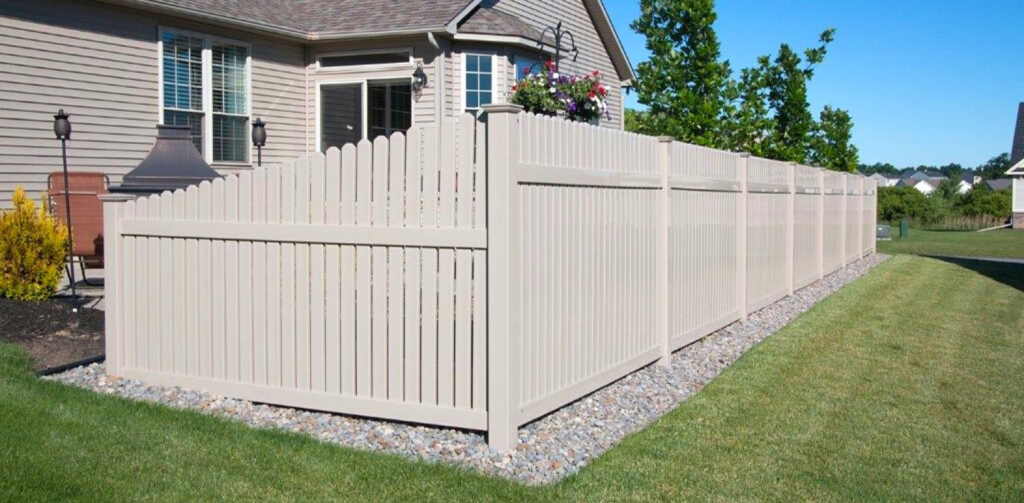 Tan PCV fence for backyard