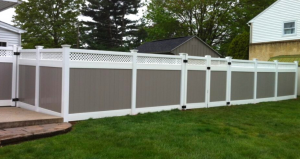 Popular privacy fence style in gray vinyl