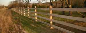 Ranch style fence made from wood