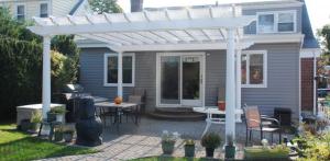 Backyard pergola on patio in Chester County Pa