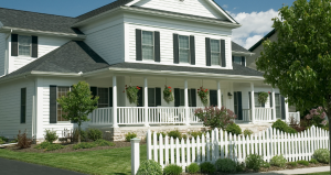 Colonial Home with white Fence Styles