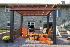 Custom free-standing pergola on patio