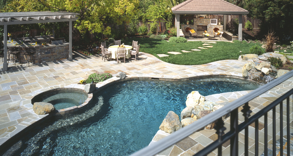 Private pool fenced backyard