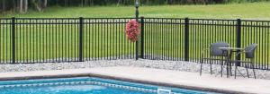Black aluminum fence for backyard pool safety