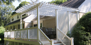 Deck with pergola used in the backyard