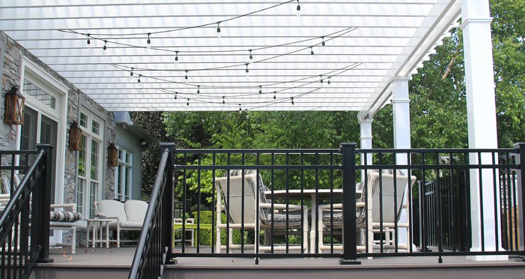 Residential pergola used over deck