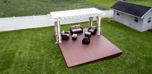 backyard pergola used for sitting area