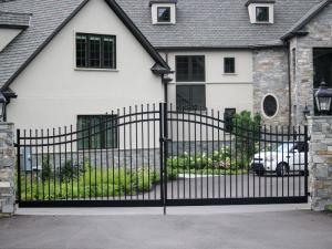 Black aluminum driveway gate