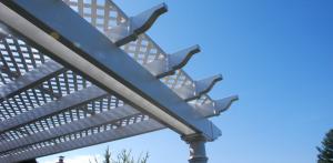 backyard pergola with lattice roof