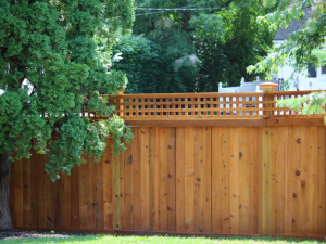 Red cedar wood privacy fence