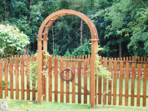 Wooden backyard arbor in Chester PA